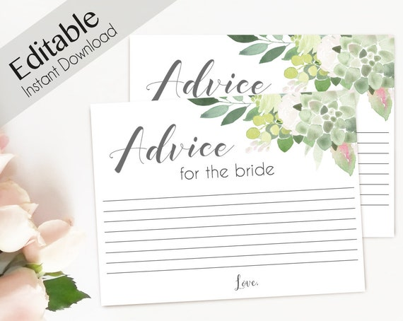 Advice Card Printable, Bridal Shower Advice Card, Advice for the bride and groom, Instant Download, Greenery Succulent Blush flower
