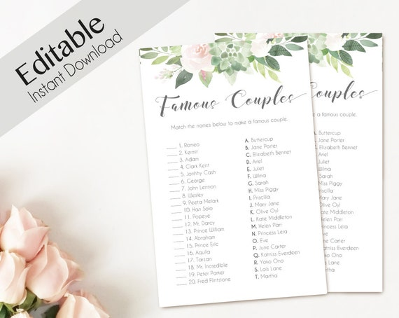 Bridal Shower Game Match the FAMOUS COUPLES, Editable PDF Instant Download, Bridal Shower Succulent Dusty Rose Editable Wedding Shower Game