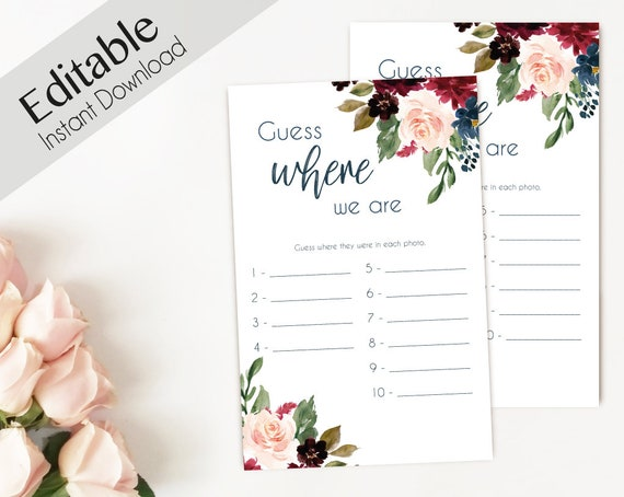 Bridal Shower Game, Where we are, Editable PDF, Bridal Shower, Blue Navy Marsala Burgundy Blush Floral, Editable Game, guess where we are