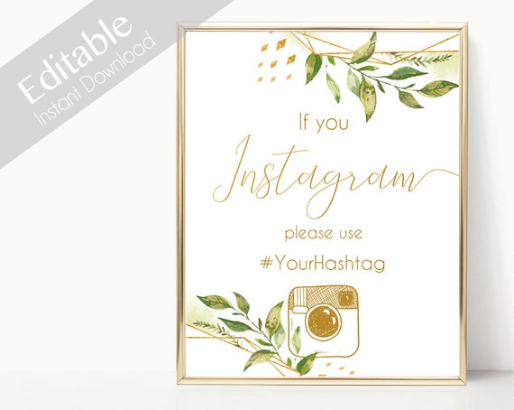 Instagram Bridal Sign, Instagram Wedding Sign, If You Instagram Sign, Instagram Sign Template, Editable Wedding Hashtag Sign, greenery gold