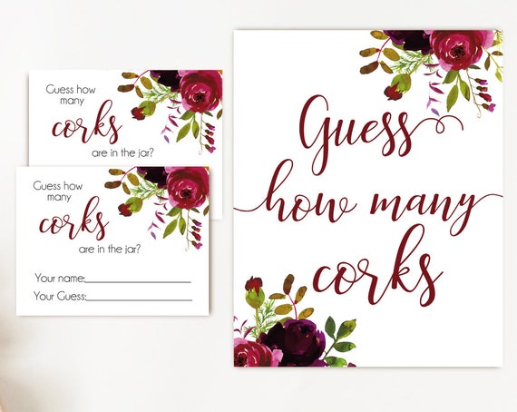 How many corks are in the jar sign, Burgundy Boho Marsala Flowers, How many corks cards and sign Bridal Shower How many corks