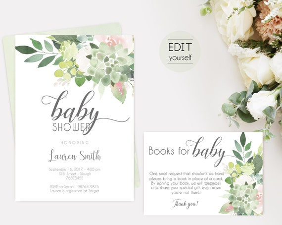 Succulent Baby Shower Invitation, Editable Succulent Dusty Rose, Baby Shower invitation, Editable Books for Baby Shower Card, Editable PDF