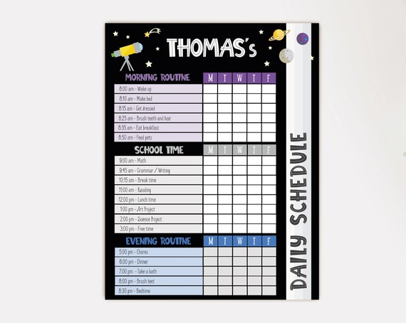 Editable Home School Daily Planner, Kids Daily Task List Chart, Weekly Planner, Space Routine Schedule, Daily Homeschool Planner, Corjl