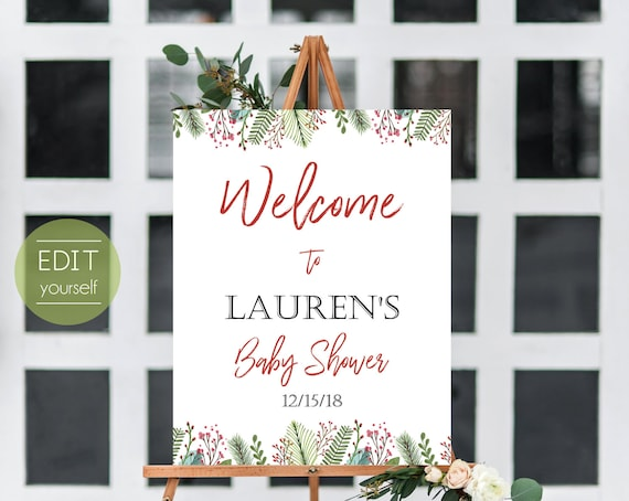 Welcome Christmas Party, Welcome Sign Template, Christmas Welcome Baby Shower sign, Christmas Welcome Bridal Shower Sign, ANY EVENT