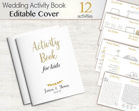 Kids Activity Pack Wedding Children Editable Cover Activities Book, Favor Kids Activity Book, Coloring Page, Instant Download, Gold