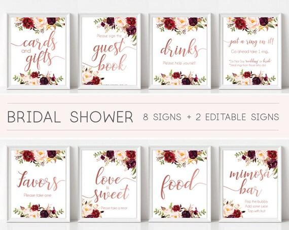 Bridal Shower Sign, Bridal Shower Sign Package Bundle,Printable Bridal Tea, Marsala Burgundy Blush Floral Rose Gold, Editable Sign