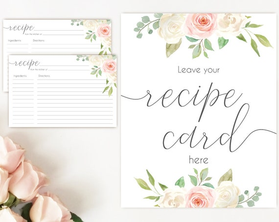 Recipe Cards Bridal Shower, Recipe Sign, Recipe Card Printable White Blush Pink Flower, Recipe Card Floral INSTANT DOWNLOAD Printable 4x6