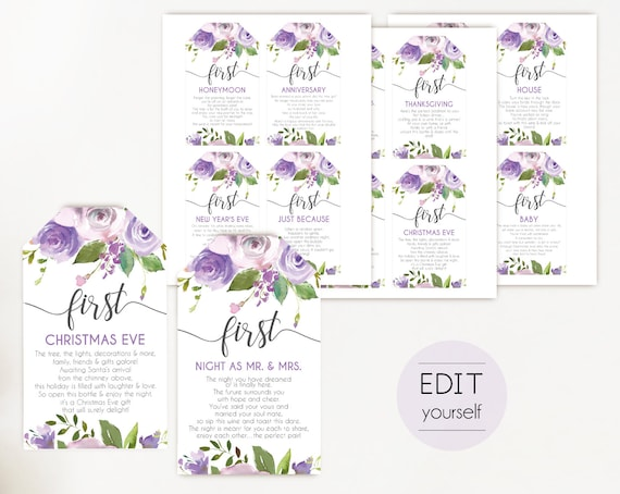 Editable Wine Tags with Poems for Wedding, Marriage Milestone Wine Basket Tag template, Lilac Lavender Flower, wine poem tags
