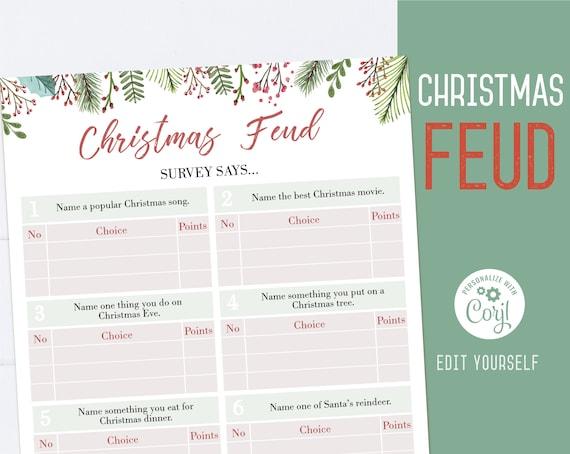 Christmas Family Feud game, Editable Christmas Feud, Holiday Party game, Christmas printable, Christmas games, Corjl