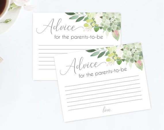Advice for the parents to be, Baby shower Advice Card, Advice for the parents, Instant Download, Greenery Succulent Blush flower