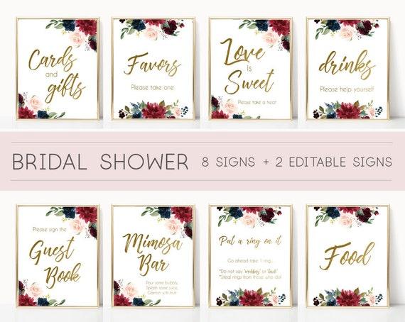 Bridal Shower Sign Set, Bridal Shower Sign Package Bundle,Printable Bridal Tea Blue Navy Marsala Burgundy Blush Floral Gold Editable Sign