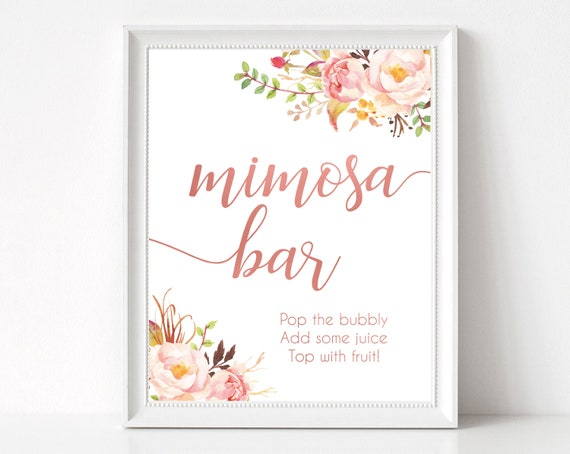 Mimosa Bar Sign, Romantic Blooms Rose Floral and Rose Gold, Bubbly Bar sign, Wedding Bar Sign