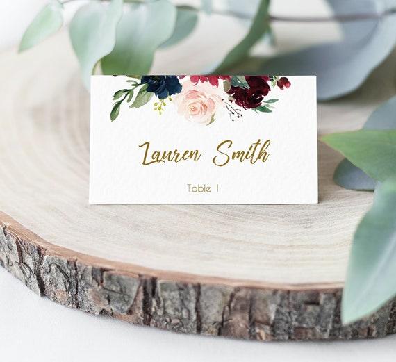 EDITABLE Place Cards, Blue Navy Marsala Burgundy Blush Gold, Editable Place Card Bridal Shower, Folded Card Printable