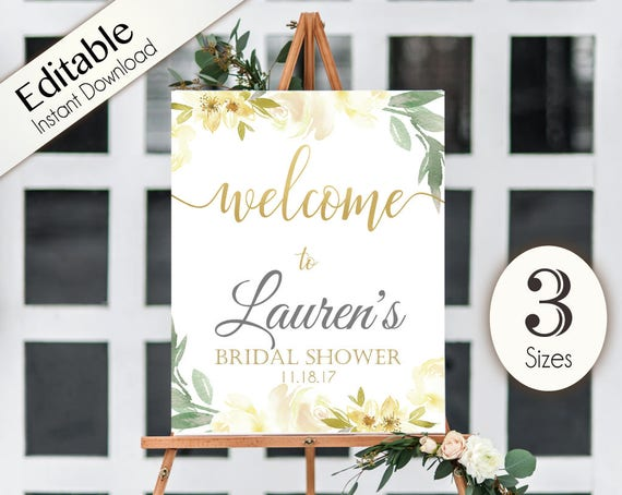 welcome sign bridal shower white ivory template editable pdf etsy
