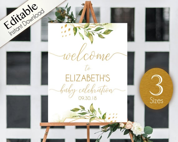 Welcome Sign Baby Celebration, Template Baby Celebration, Editable PDF, Greenery Gold Sign, Baby Celebration Greenery and Gold, Editable PDF