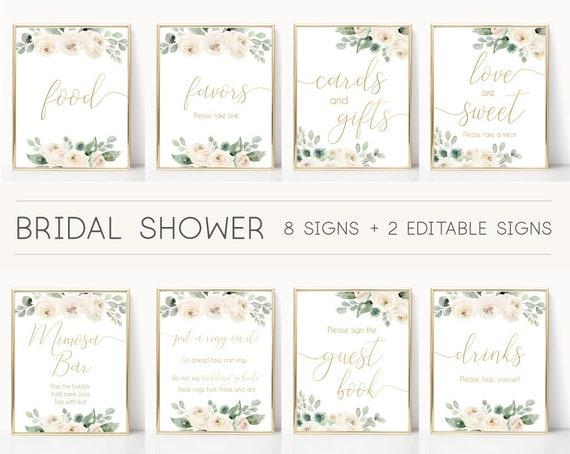 Bridal Shower Sign Set, Bridal Shower Sign Package Bundle, Printable Bridal Tea Sign, White Floral Gold Sign, Editable Sign Corjl
