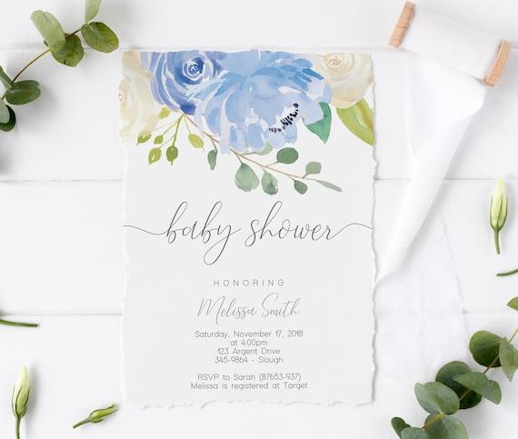 Baby Shower Invitation Boy, Baby Boy Shower Invitation, Blue Baby Shower Invitation, Baby Shower Invitation Template, Greenery Baby Shower