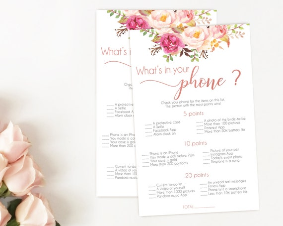 Bridal Shower Game What is in your phone, Editable PDF, Bridal Shower Romantic Blush Pink Rose Gold INSTANT DOWNLOAD Wedding Shower Game