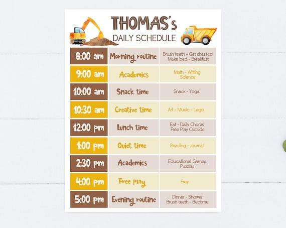 Editable Home School Daily Planner, Editable Daily Routine Schedule, Truck Routine Schedule Chart, Boy Daily Homeschool Planner, Corjl