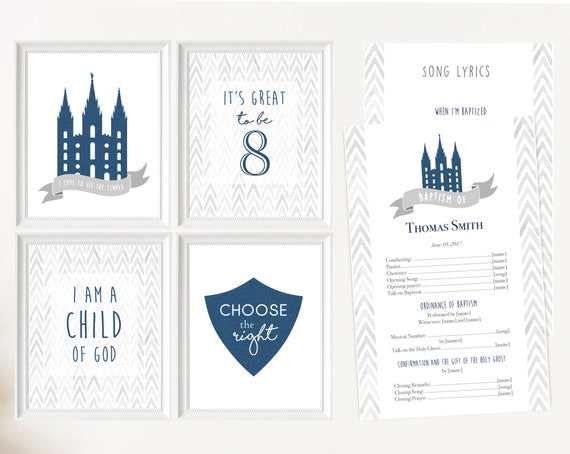 Baptism LDS, Editable LDS Baptism Program, Poster Baptism, Choose the Right, It's great to be 8, I love to see the temple I'm a child of God