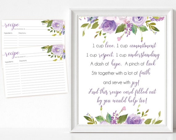 Recipe Cards Bridal Shower, Recipe Sign, Recipe Card Printable Lavender Lilac Flower, Lilac Recipe Card Floral INSTANT DOWNLOAD Printable