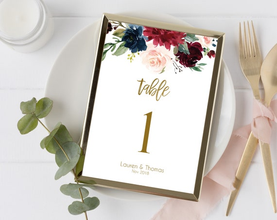 Editable Table Number, Table Number Template, Table Numbers sign, Blue Navy Marsala Burgundy Blush Gold, Editable PDF, Instant Download
