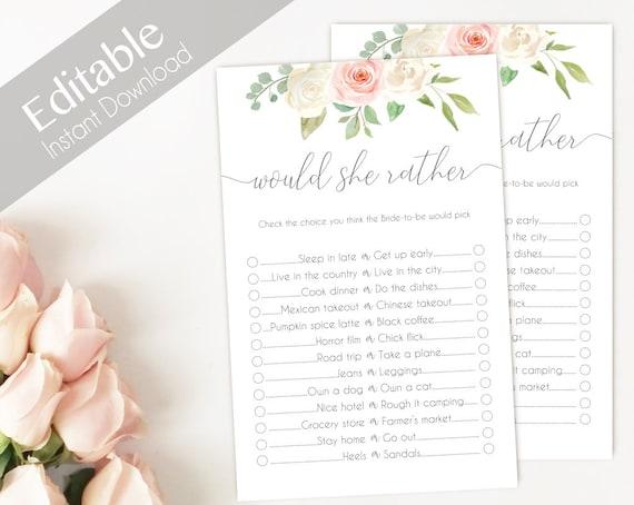 Bridal Shower Game Would She Rather Editable PDF Bridal Shower Romantic Blush Pink White Watercolor Flowers, Editable Game, would she rather