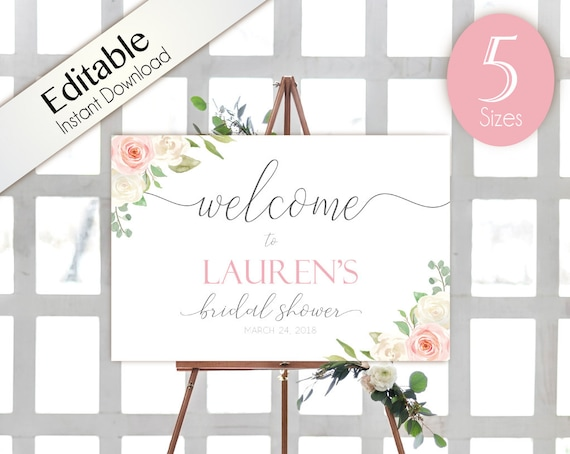 Welcome Sign Bridal Shower, Template Bridal Shower, Editable PDF, Welcome Bridal Shower Sign Romantic White Blush Pink Floral, Editable Sign