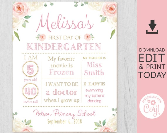 Back to School sign, First/Last day of school Editable sign, First day of school chalkboard, WhiteBoard Back to School Sign, Corjl