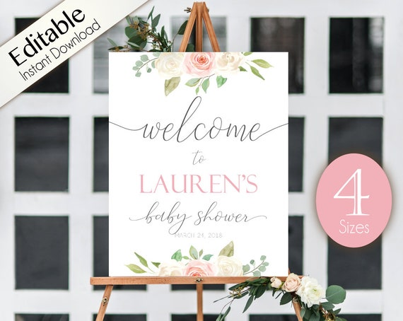 Welcome Sign Baby Shower, Template Baby Shower, Editable PDF, Welcome Baby Shower Sign Romantic White Blush Pink Floral, Editable Sign