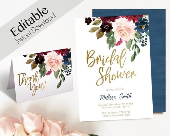 Bridal Shower Invitation, Editable PDF, Bridal Shower Blue Navy Marsala Burgundy Blush Gold Thank you Card  DIY Bridal Invitation Template