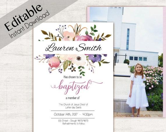Baptism Invitation Girl, Editable PDF Girl Invitation lavender purple lilac flowers, double side photo, watercolor Baptism, Invite template