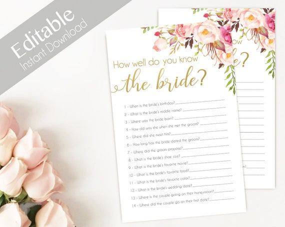 Bridal Shower Game, How well do you know the bride, Editable PDF, Bridal Shower Romantic Blush Pink Blooms Gold Flowers, Editable Game