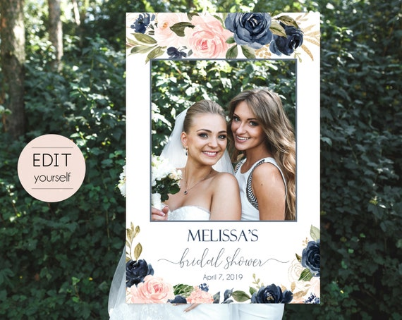 Bridal Shower Photo Booth Frame, Navy Blush Pink Photo Prop Frame, Photo Booth Prop, Editable PDF, Navy Gold Dusty Rose Floral, Corjl