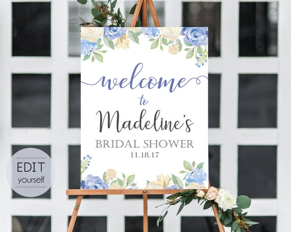 Welcome Sign Bridal Shower Template, Editable PDF, ANY EVENT, Bridal Baby Wedding Baptism Birthday Shower Sign, Blue flowers