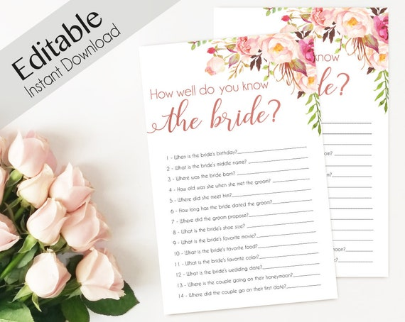 Bridal Shower Game, How well do you know the bride, Editable PDF, Bridal Shower Romantic Blush Pink Rose Flowers Gold, Editable Game