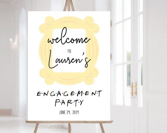 FRIENDS Welcome Sign Engagement Party, Template Engagement Party, Editable PDF, Welcome Engagement Party Sign FRIENDS tv show