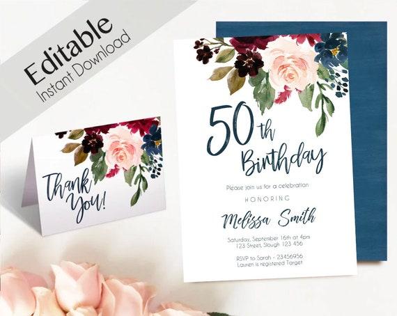 50th birthday Invitation,Editable PDF Fifty birthday Blue Navy Marsala Burgundy Blush Floral Thank you Card DIY birthday Invitation Template
