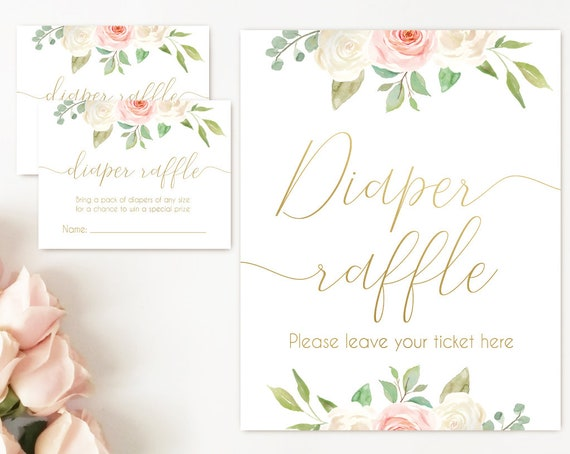 Diaper Raffle Sign, Diaper Raffle Card, Baby Shower Sign Printable, Romantic Blush Pink White Floral Gold, Baby Shower, Instant Download