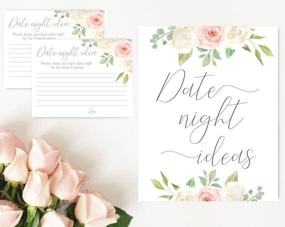 Date night ideas, Blush White Pink, date night cards, date night sign, Bridal Shower Game, instant download, party game