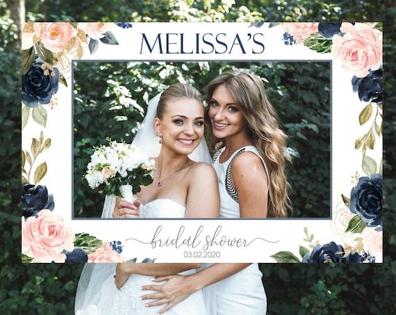 Bridal Shower Photo Prop Frame Horizontal, Editable Bridal Shower Photo Booth Frame, Navy Blush Pink Photo Prop Frame, Any Event, Corjl