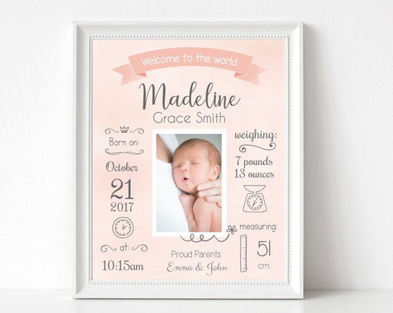 Birth Announcement, Editable BIRTH Stats printable wall art template, Print Sign poster wall art, whiteboard baby girl, instant download