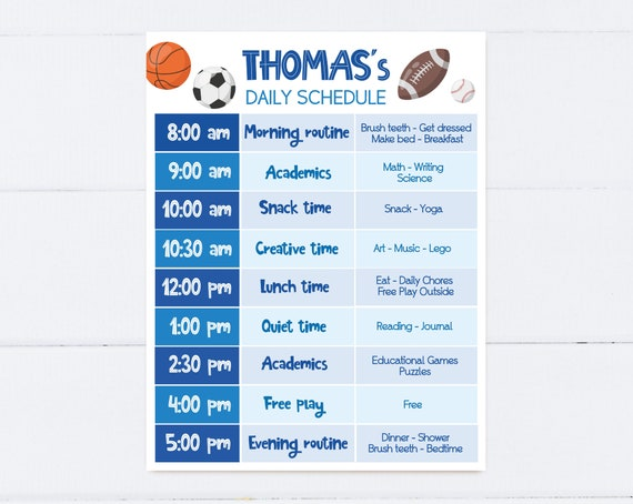 Editable Home School Daily Planner, Editable Daily Routine Schedule, Sports Ball Routine Schedule Chart, Boy Daily Homeschool Planner, Corjl