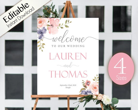 Welcome Sign Wedding Romantic Blush Pink Grey Niagara Flowers Editable Printable Welcome Poster PDF Template Instant Download Printable