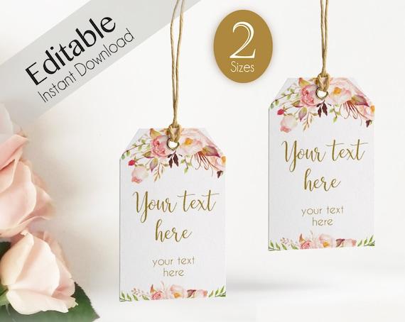Favor Tag Bridal Shower Template, Editable PDF Wedding tag Bridal Tea Tag Printable, Instant Download, Romantic Bloom Blush Pink Flower Gold