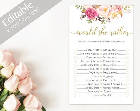 Bridal Shower Game Would she rather Editable PDF Bridal Shower Romantic Blush Pink Blooms Gold Watercolor Flowers, Editable Game