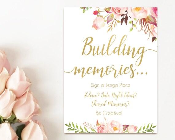 Bridal Shower Jenga Guest Book, Jenga Guest Book Sign, Jenga Sign, Build Memories Sign, Wedding Advice Jenga Sign, Romantic Blush pink gold