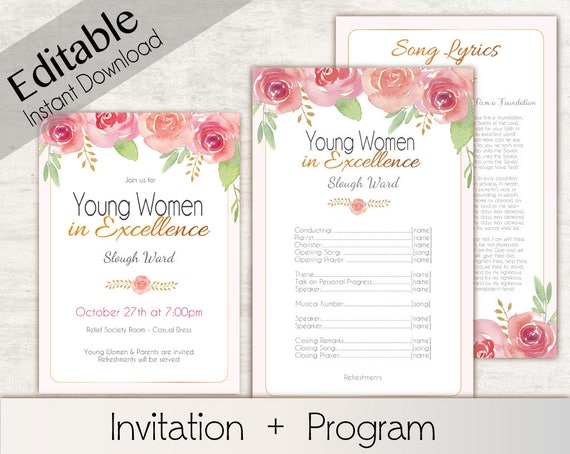 YW in Excellence Invitation, Editable PDF, Editable Program Young Women lds Invitation, Instant Download,  YW in Excellence editable program