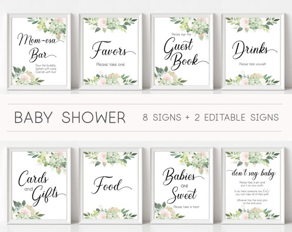 Baby Shower Sign Set, Baby Shower Sign Package Bundle, Baby Succulent Signs, Editable Sign, Baby shower Succulent Greenery and black