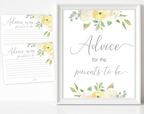 Advice for the parents to be Sign, Advice Cards, Baby Shower Sign Printable, Yellow White Floral Gold, Baby Shower, Instant Download